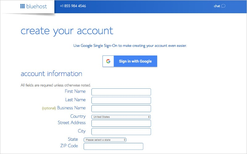 Create Your Account With Bluehost
